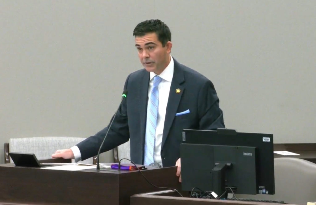 Rep. John Bradford, R-Mecklenburg, addresses colleagues in committee. (Screen shot from ncleg.gov.)