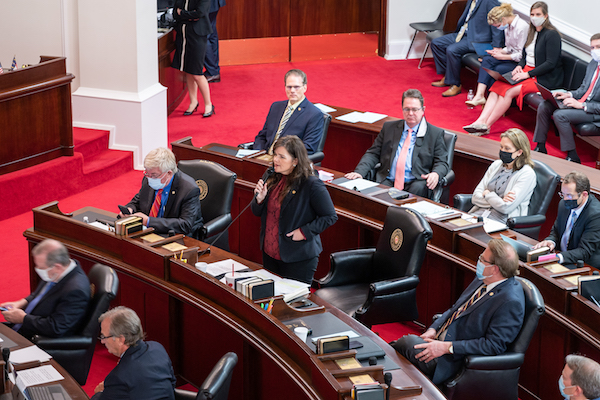 Sen. Deanna Ballard, R-Watauga, speaks passionately about reopening schools. (CJ photo by Maya Reagan)