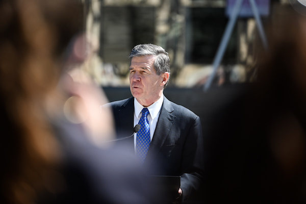 Gov. Roy Cooper during a news conference March 10 to announce plan to reopen schools. (CJ photo by Maya Reagan)
