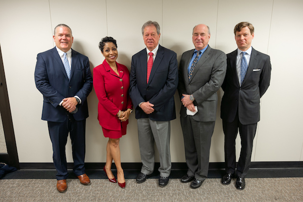 N.C. Senate appointees to the UNC Board of Governors. From left, Kirk Bradley, Sonja Nichols, Jimmy Clark, Art Pope, and Lee Roberts. (CJ photo by Maya Reagan)