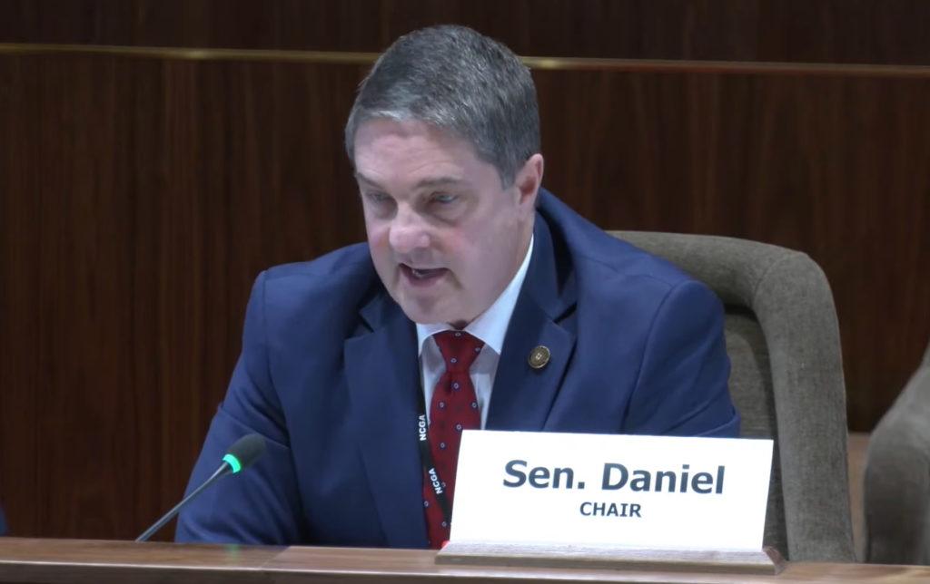 Sen. Warren Daniel, R-Burke, speaks during a legislative committee meeting. (Image from ncleg.gov)