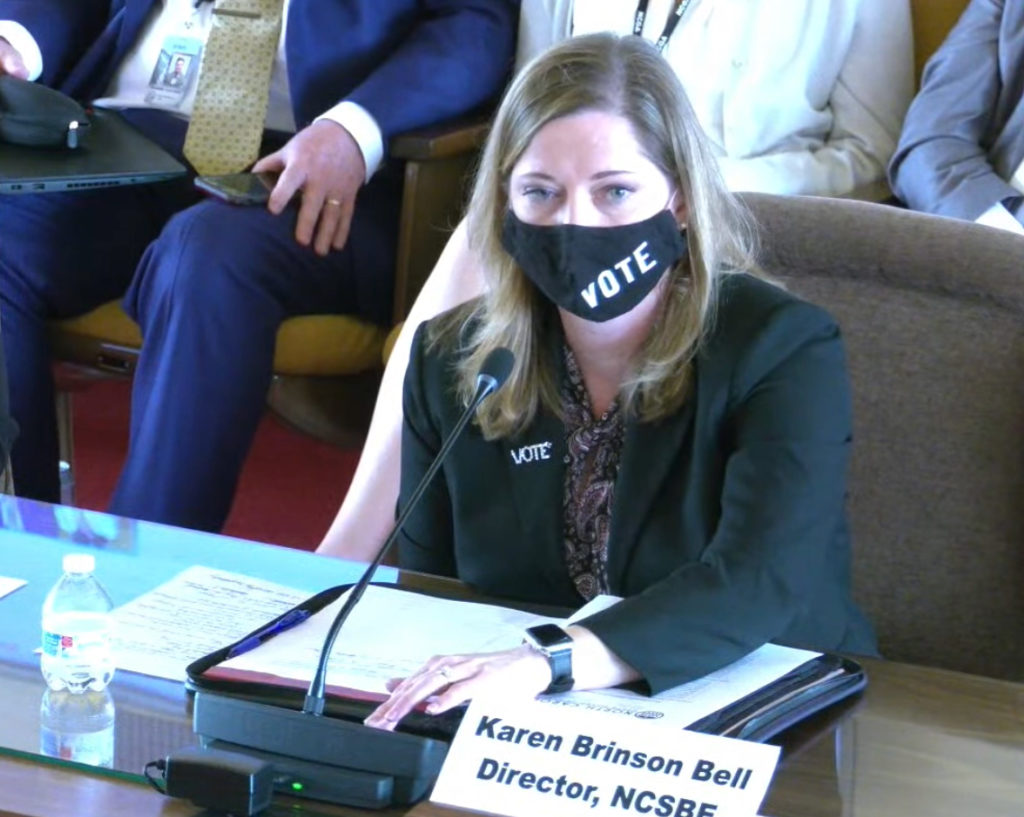 Karen Brinson Bell, executive director of the N.C. State Board of Elections, testifies during a legislative hearing. (Image from ncleg.gov)