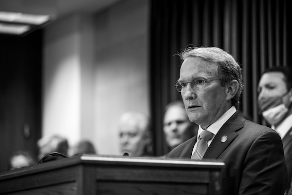Sen. Paul Newton, R-Cabarrus, talked through the two bills at a news conference and in the N.C. Senate Elections Committee on Wednesday, March 31. (CJ photo by Maya Reagan)