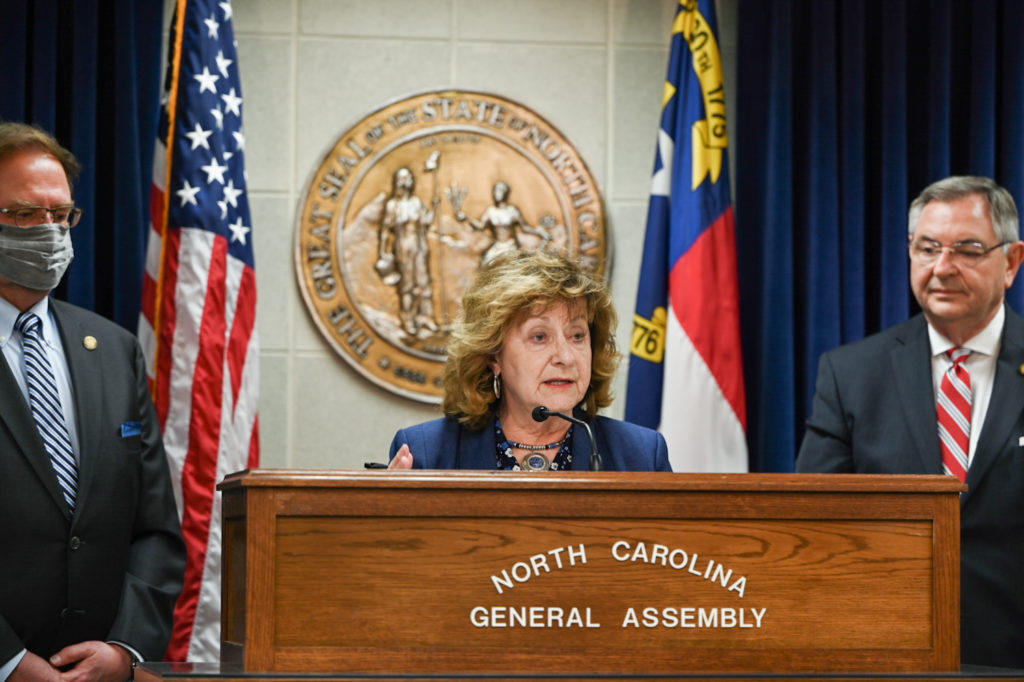 """""""Health care costs just keep eating up more and more of a family's budget,"""" said Sen. Joyce Krawiec, R-Forsyth. (CJ photo by Maya Reagan)"""