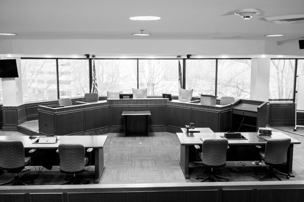 The G. Eugene Boyce Courtroom at Campbell law school. (CJ photo by Maya Reagan)