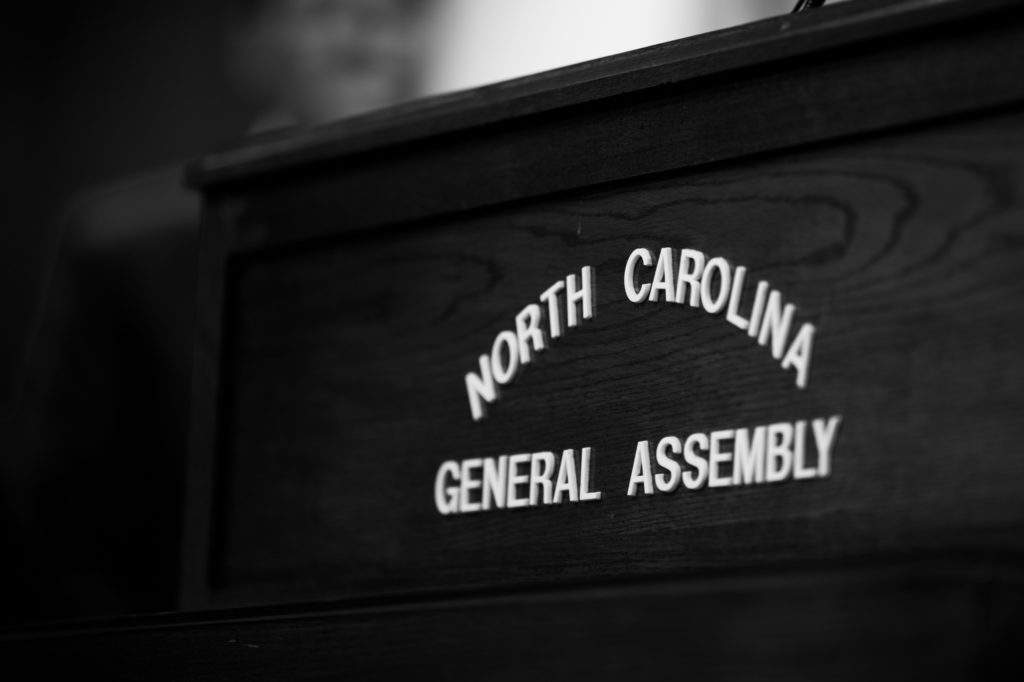 The podium in the NC General Assembly press room