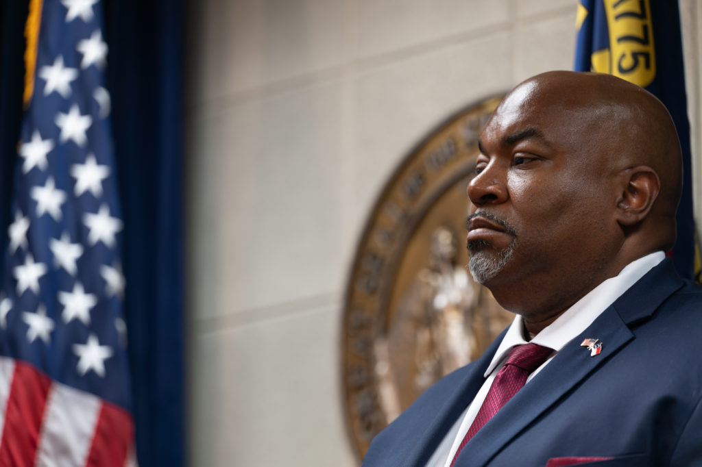 Lt. Governor Mark Robinson listens in the press conference announcing HB