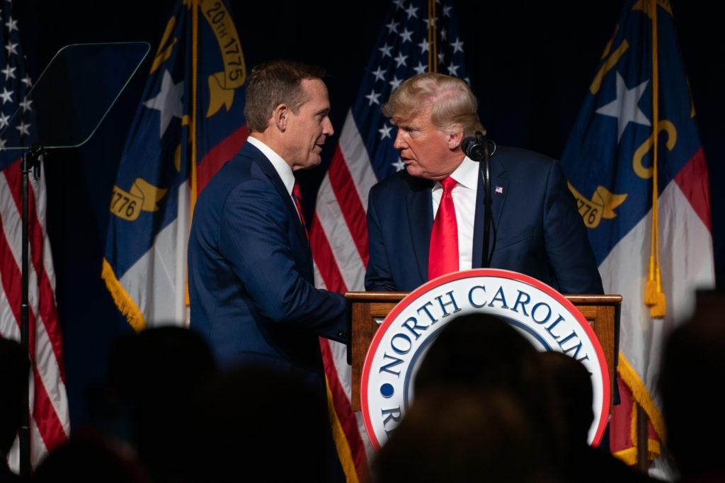 Former President Donald Trump endorses Congressman Ted Budd, R-NC, for U.S. Senate at the 2021 NCGOP convention.