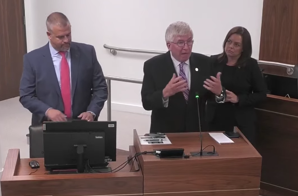 Senators Tom McInnis (R-Moore), Vickie Sawyer (R-Iredell), and Todd Johnson (R-Union) present HB 91 for discussion to the Senate Education Committee on July 20, 2021
