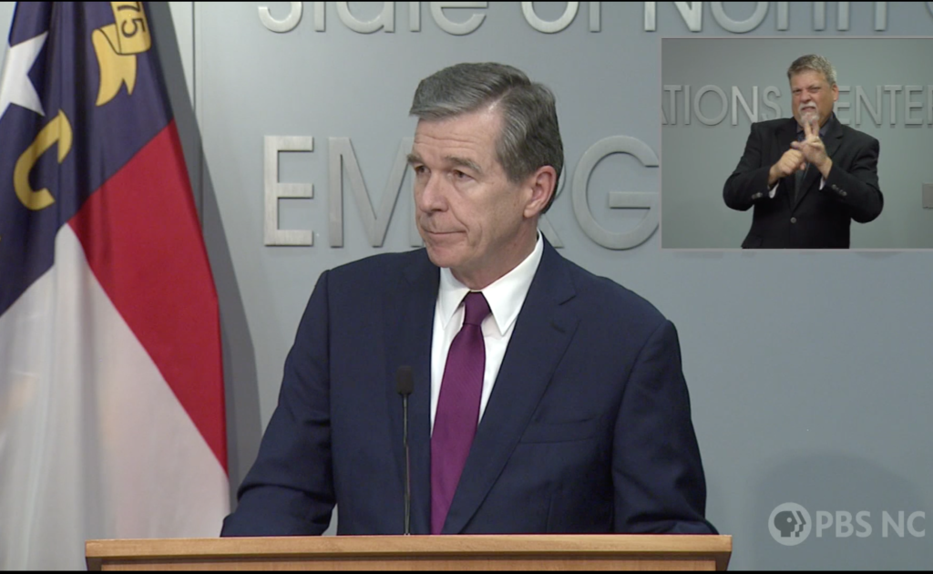 Gov. Roy Cooper delivers an update on mask mandates in press conference on July 21, 2021 screenshot image via PBS NC