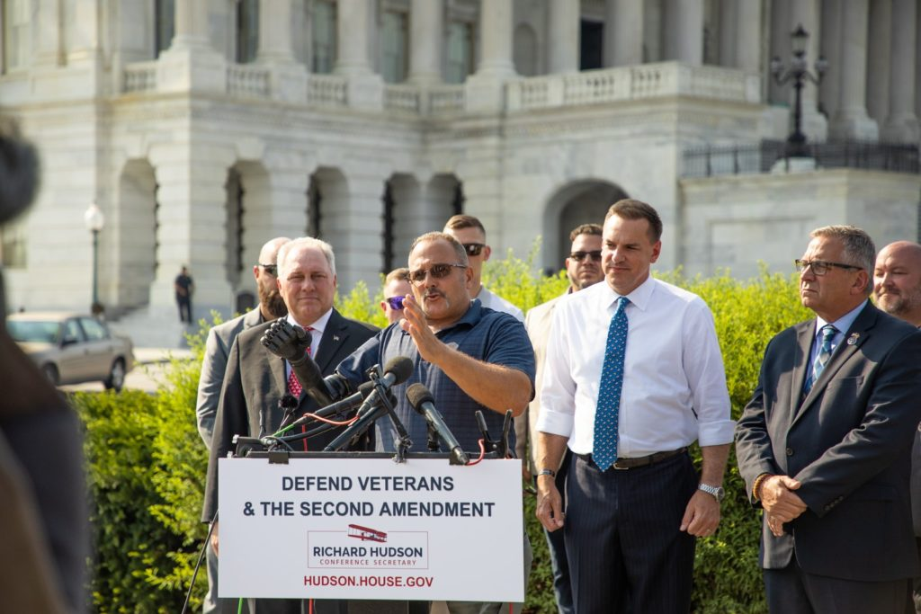 U.S. Army veteran Rick Cicero speaks at a Capitol Hill news conference opposing new federal rules targeting stabilizing braces for guns. (Photo courtesy of U.S. Rep. Richard Hudson)