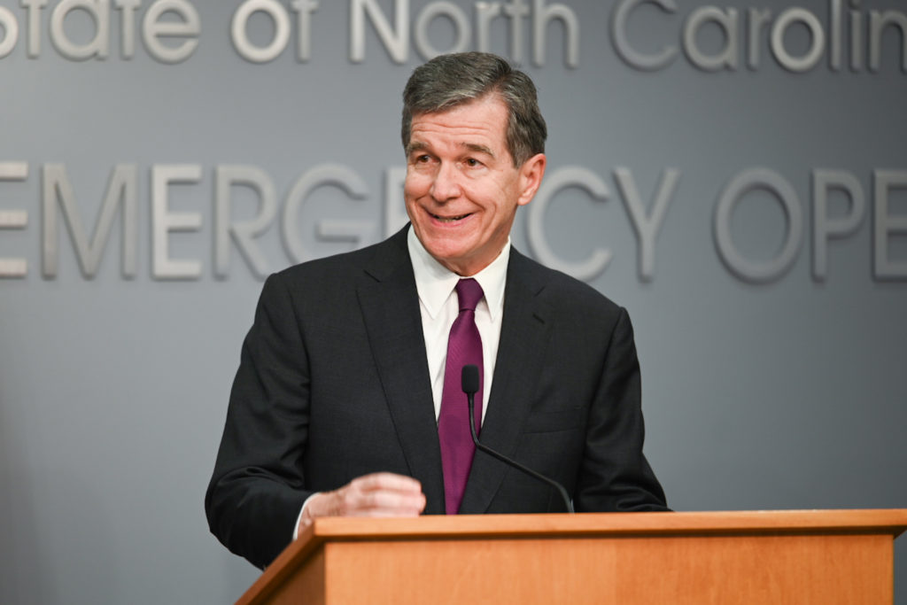 Gov. Roy Cooper, during a news conference on COVID-19, Thursday, July 29. (CJ photo by Maya Reagan)
