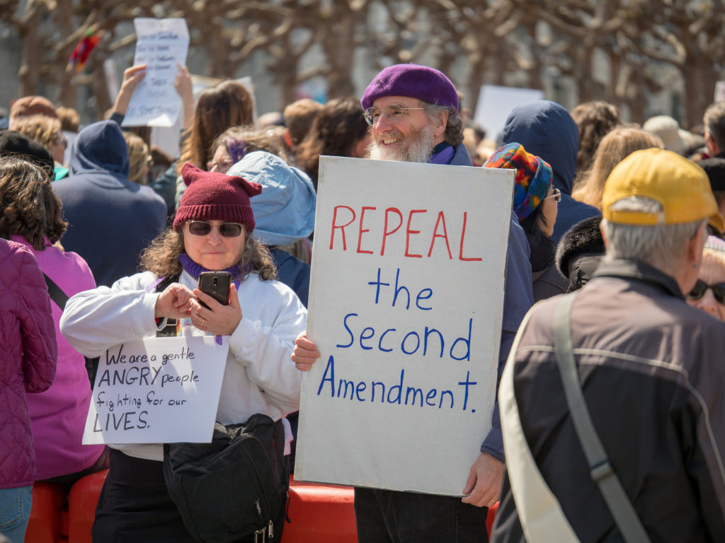 SAN FRANCISCO, CA - MARCH 24, 2018: Repeal second amendment sign at March for Our Lives rally in San Francisco.