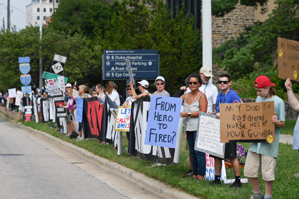 Protesters lined up at Duke Health in Durham to demonstrate their objection to vaccine mandates for employees. Photo by Maya Reagan, Carolina Journal