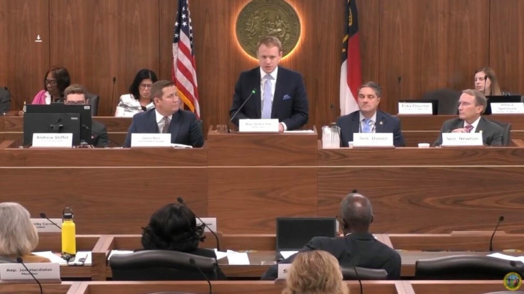 Rep. Destin Hall, R-Caldwell, chairs a joint meeting of the N.C. General Assembly's redistricting committees. (Image from ncleg.gov)