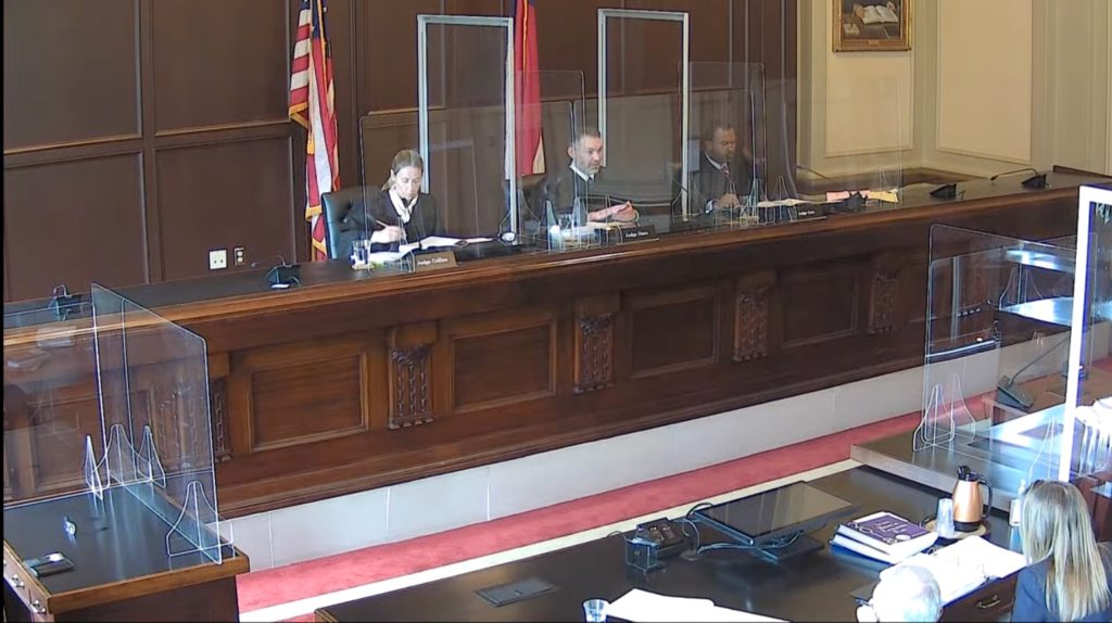 N.C. Appeals Court Judges Allegra Collins (left), Richard Dietz, and Fred Gore hear oral arguments on Aug. 10, 2021. (Screen shot from N.C. Court of Appeals YouTube channel)