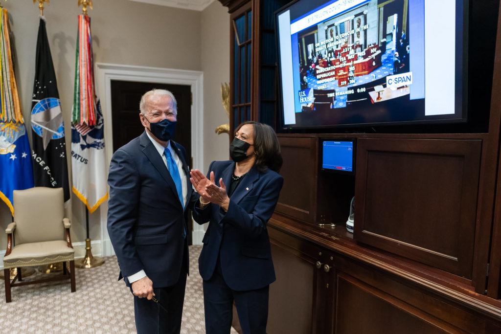President Joe Biden and Vice President Kamala Harris celebrate the Senate passage of the American Rescue Plan, a $1.9 trillion spending package. Photo via The White House Facebook page)
