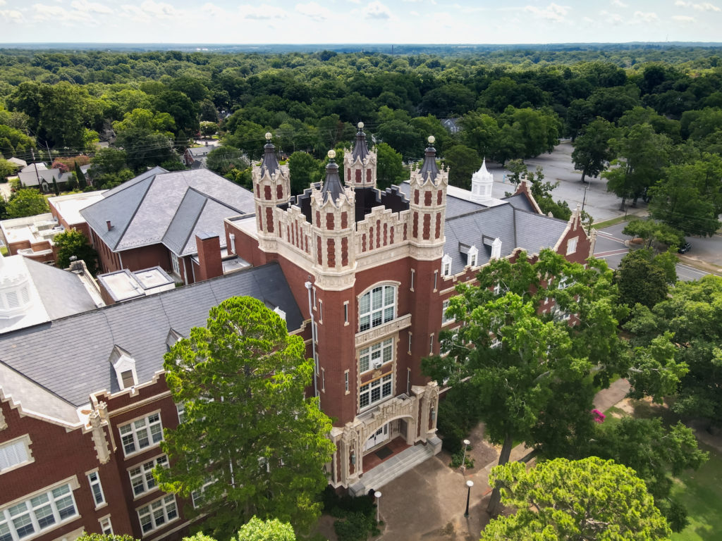 An aerial view of the Withers building at Winthrop University in Rock Hill, South Carolina, USA.