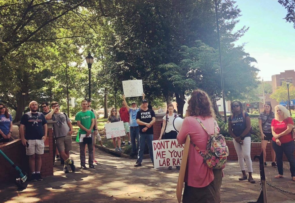 Wake County Young Republicans protest mask mandates in Raleigh. (Aug. 21, via Facebook)