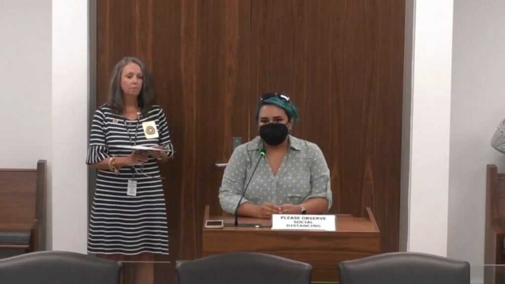 Lekha Shupeck, N.C. state director of All On The Line, testifies during an Aug. 10, 2021, redistricting hearing. (Image from YouTube)