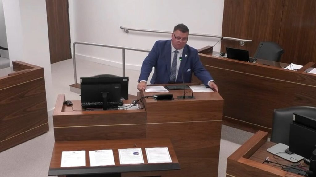 "Rep. Jason Saine, R-Lincoln, touts a regulatory ""sandbox"" bill. (Image from YouTube)"