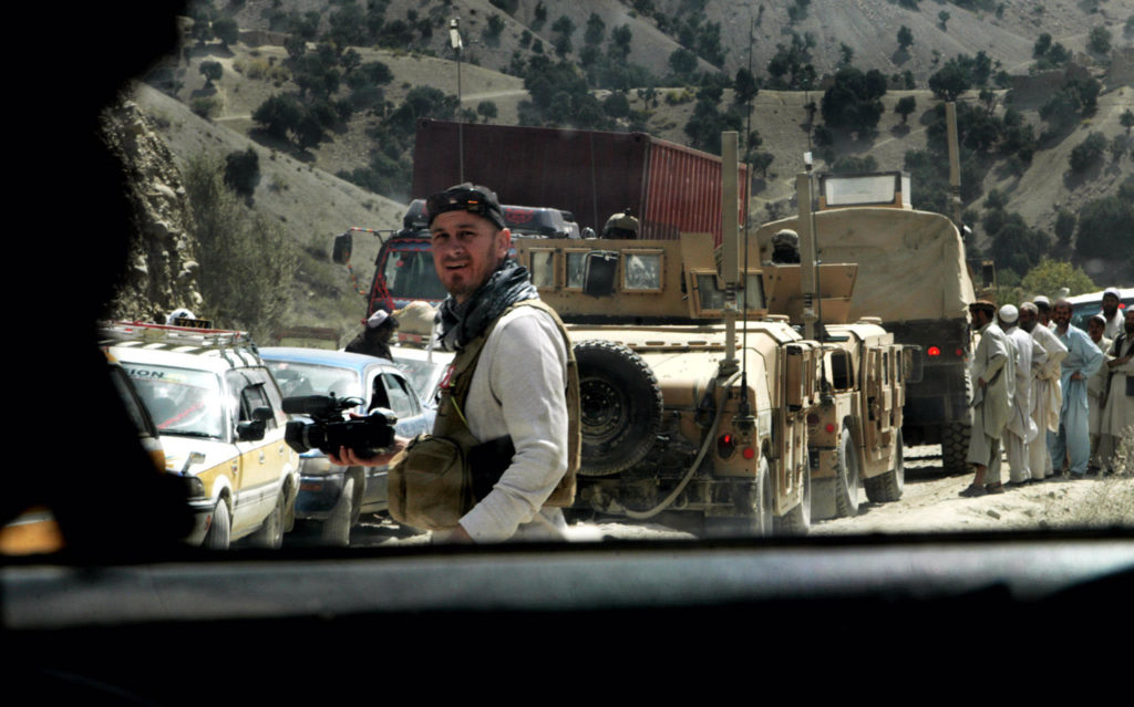 Reporter, videographer, and producer Jeff Newton in Afghanistan. (Photo courtesy of Jeff Newton)