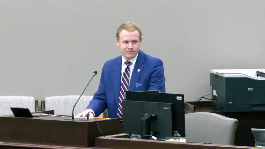 Rep. Destin Hall, R-Caldwell, addresses the House Redistricting Committee. (Image from YouTube)
