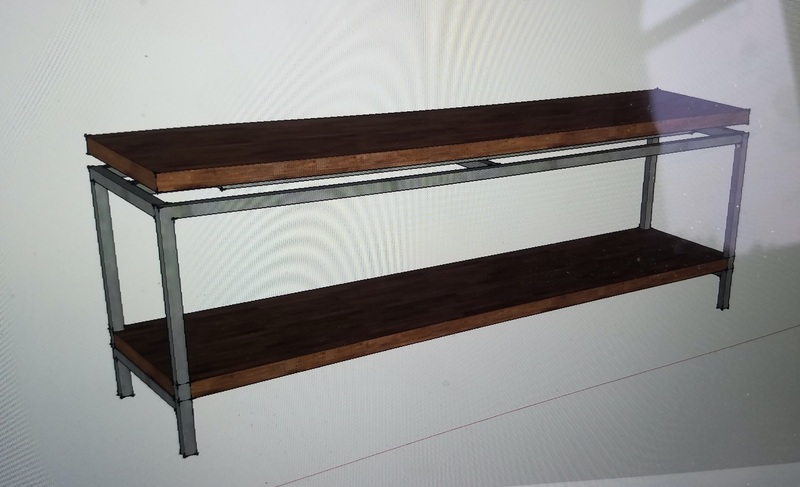 Metal and Wood media stand tv console custom floating top