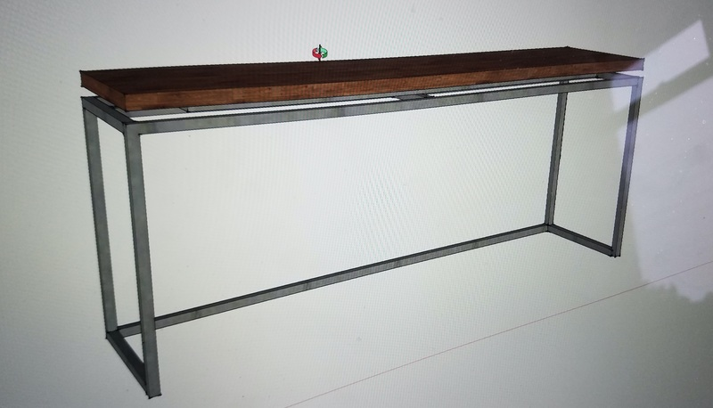 Metal and Wood Sofa Table Entryway Hall Buffet