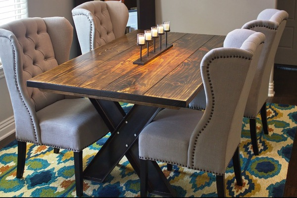 "6' x 42"" Steel X Base Dining Table with a traditional top stained in Vintage Dark Walnut with a Semi-Gloss Sheen with an industrial steel base."