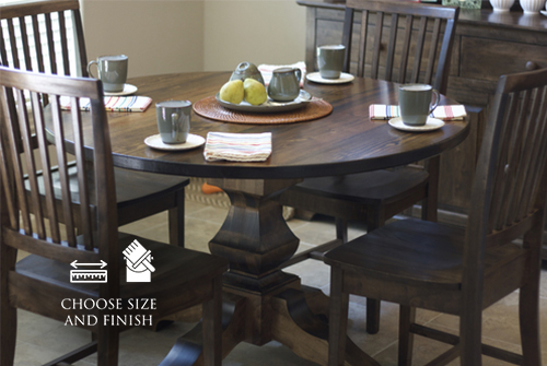 """36"""" Round Pedestal Table stained in Dark Walnut with a Semi-Gloss Sheen. Pictured with Jane Dining Chairs."""