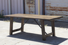 "7"" x 37"" Turnbuckle Dining Table with a traditional top stained in Dark Walnut with a Semi-Gloss Sheen."