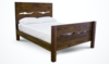Queen Live Edge Bed with Standard Headboard and Footboard in Dark Walnut stain.