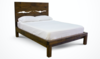 Queen Live Edge Bed with Standard Headboard and Standard Foot Rail in Dark Walnut stain.