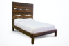 Queen Live Edge Bed with Extra Tall Headboard and Standard Foot Rail in Dark Walnut stain.