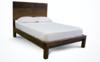 Queen Sawyer Bed with Standard Headboard and Standard Foot Rail in Dark Walnut stain.