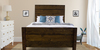 Queen Sawyer Bed with Extra Tall Headboard and Footboard in Dark Walnut stain. Pictured with boxspring.