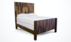 Queen Forester Bed with Extra Tall Headboard and Footboard in Multi-colored stain. Pictured with boxspring.