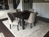 """55"""" x 55"""" Square Farmhouse Table with a  jointed top stained in Kona with a Satin Sheen."""