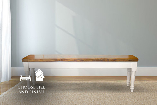"Dianne Bench painted Ivory with an Early American stained seat. Custom 11.25"" D."