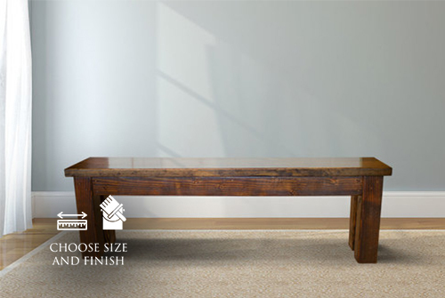 Farmhouse Bench stained Dark Walnut