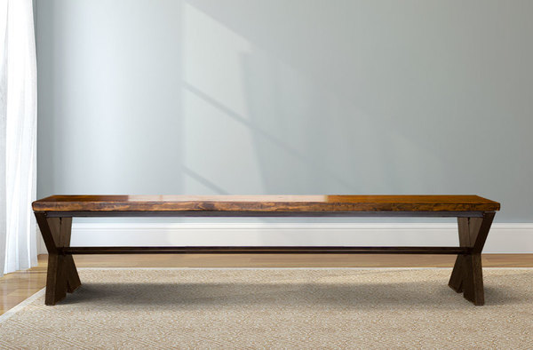 Steel X Base Bench with a Vintage Dark Walnut stained seat and Black steel base