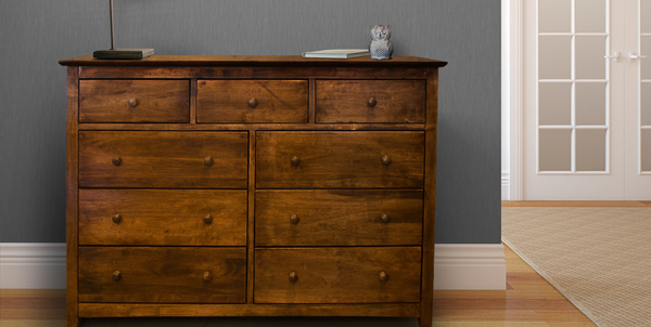 9 Drawer Dresser in Dark Walnut stain.