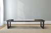 Steel Trapezoid Bench stained Vintage Kona with an Industrial Steel base.