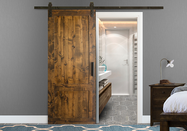 "Rustic Barn Door Kit at 34"" Wide and 84"" Tall in Tobacco finish with Flat Black hardware."