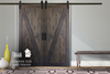 Custom Configured Double Z Barn Door Kit in custom Deep Grey stain with Flat Black hardware.