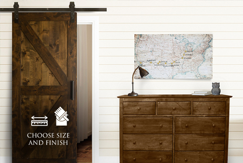 "Classic Barn Door Kit at 34"" Wide and 84"" Tall in Tobacco finish with Flat Black hardware."