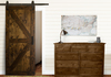 "Classic Barn Door Kit at 34"" Wide and 84"" Tall in Dark Walnut stain with Flat Black hardware."