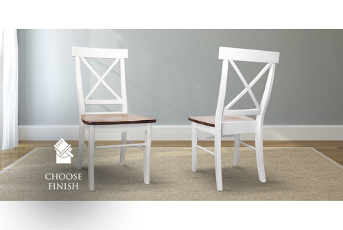 X-Back Wood Dining Chair painted Ivory with a Dark Walnut stained seat