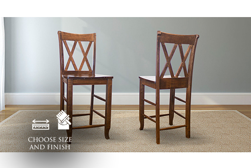 Double X-Back Wood Counter Stool stained Dark Walnut